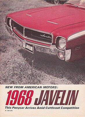 1968 American Motors JAVELIN SST, Detailed USA Car Magazine Road Test Report