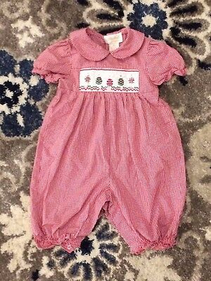 ROSALINA COLLECTION Red Gingham Romper Jumper SMOCKED Christmas Holidays 12M
