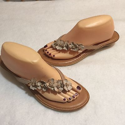 7d96b44e9 NINE WEST THONG Flip Flop Sandal Floral Beige Leather Beads Italy 10 ...