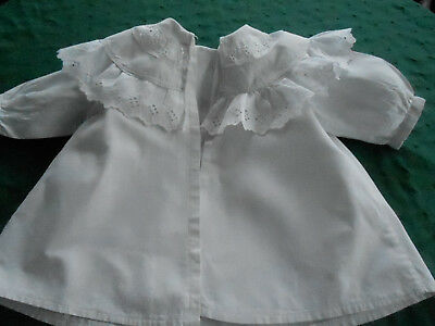Antique White Baby Coat With A Fabulous White Work Embroidered Collar, Circa1900