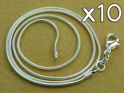 WHOLESALE Lot 10x High Q SILVER SNAKE CHAIN NECKLACE 20inch - 50cm 1.3 mm