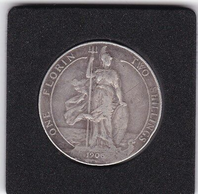 1906   King  Edward  VII  Florin  (2/-) Sterling Silver (92.5%)  Coin