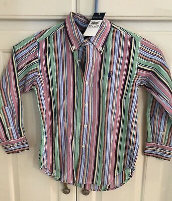 Ralph Lauren Toddler Boys Multicolored Striped Oxford Shirt Size 4T NWT