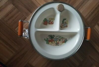 Vtg. Excello Chromium mexican-themed warming dish for baby