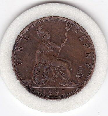 Sharp  1891  Queen  Victoria   Penny  (1d)    Bronze  British  Coin
