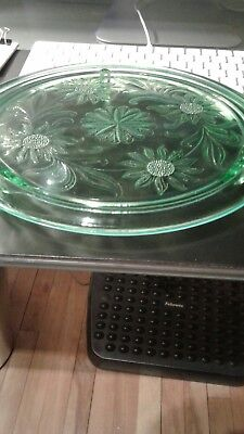 Vintage 1930 Depression Glass Jeannette Glass Co.green 3 Footed Plate Sunflower