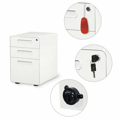 DEVAISE 3 Drawer Metal Mobile File Cabinet Home Office Filing Furniture, White