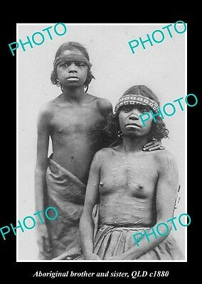 OLD LARGE HISTORICAL PHOTO OF ABORIGINAL BROTHER & SISTER, c1880 QUEENSLAND