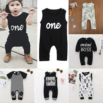 Summer Baby Boy Girls Clothes Newborn Infant Cotton Rompers Jumpsuits Bodysuit