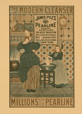 Vintage Barbershop & Salon Posters PEARLINE WASHING COMPOUND, America, 1896