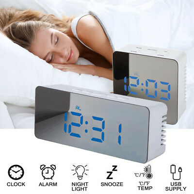 LED USB Digital Alarm Snooze Clock Night Light Thermometer Display Mirror Lamp