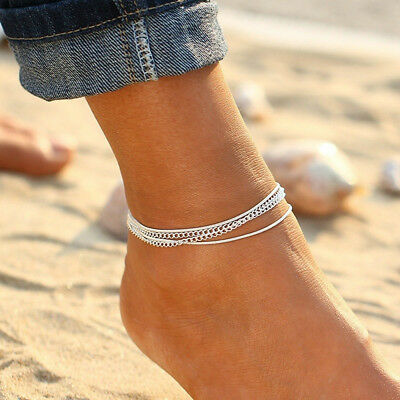 Blue Beads Silver Color Chain Anklet Bracelet Foot Beach Feet Jewelry For Girls
