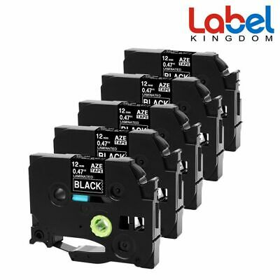 TZe-335 P-touch Label Tape Compatible Brother PT-P700 12mm White on Black 5PK