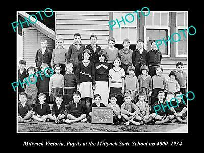 Old Large Historic Photo Of Mittyack Victoria, Pupils At The State School 1934