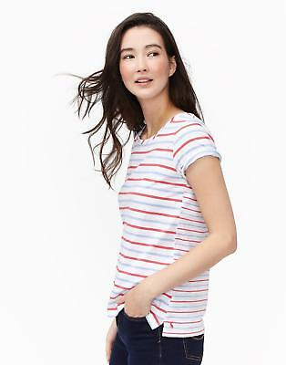 Joules Womens Nessa Jersey T shirt in Blue Red Stripe Size 18