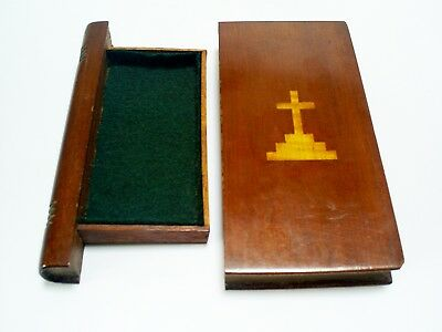 Lovely Antique Treen Mahogany/inlaid Satinwood Book Shape Bible/prayer Book Box