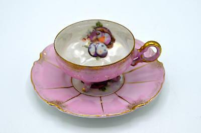 Vintage Napco Pink With Gold Footed Demitasse Cup & Saucer - Fruits Pattern