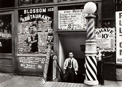 Vintage Barbershop & Salon Poster A NEW YORK BARBERSHOP, America, 1920's