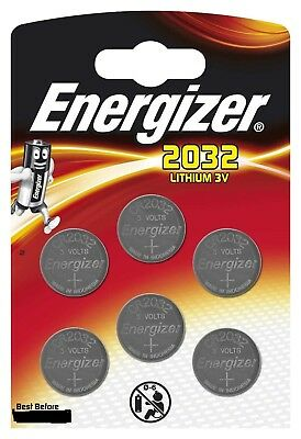 6 x Energizer CR2032 3V Pack of 6 Lithium Coin Cell Battery 2032 New Retail Pack