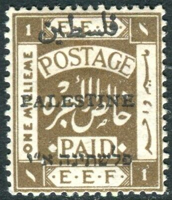 PALESTINE-1920 1m Sepia Perf 14.  A lightly mounted mint example Sg 45