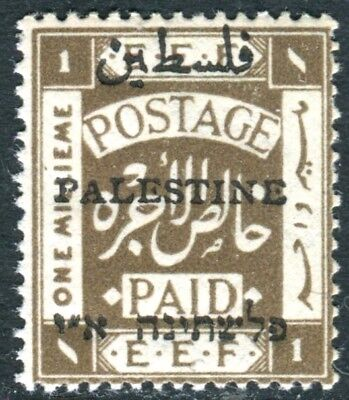 PALESTINE-1921 1m Sepia Perf 15x14.  An  unmounted mint example Sg 47