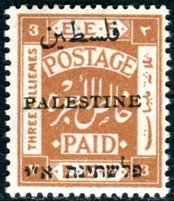 PALESTINE-1921 3m Yellow-Brown Perf 15x14.  An unmounted mint example Sg 49
