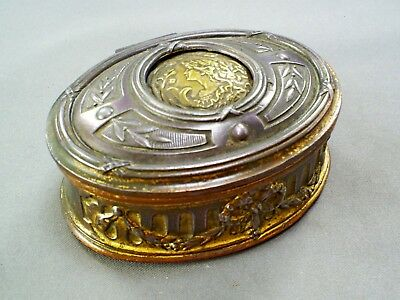 Fine Antique French Art Nouveau Gilt Metal/Brass Roundeltrinket Box/Depose 291