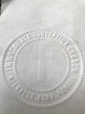 Antique Cast Iron Notary Stamp Seal Embosser Immaculate Conception Church Hawaii