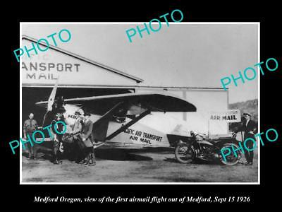 Old Large Historic Photo Of Medford Oregon, The First Airmail Flight 1926