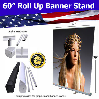 "Aluminum 60""x80"" Retractable Roll Up Banner Stand Trade Show FREE SHIPPING"