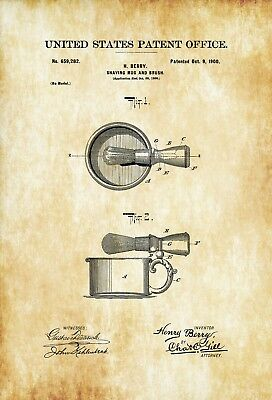 Vintage Barbershop & Salon Posters SHAVING MUG AND BRUSH PATENT, America, 1900