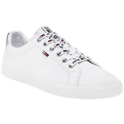 New Womens Tommy Jeans White Casual Sneaker Canvas Trainers Court Lace Up 2f6b7f0eaa4