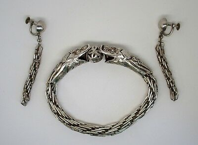 Fine antique Chinese silver bracelet and earrings c.1900 - stamped