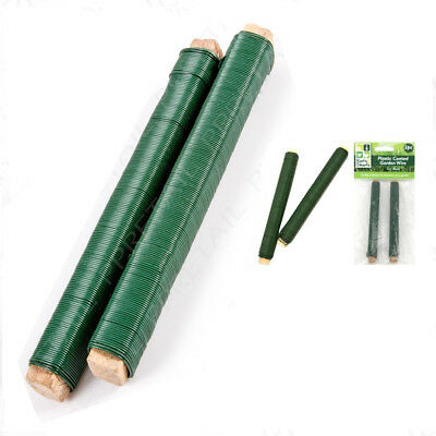 2X Green Garden Wire 18M Plastic Coated Plant/Vine Support Bamboo Cane Fixing