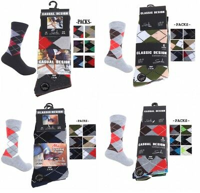 6 Pairs Mens Designer Argyle Diamond Design Cotton Rich Socks Adults Size 6-11