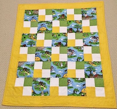 New Handcrafted Cotton Mother Goose Nursery Rhymes Friends 4-Patch Baby Quilt