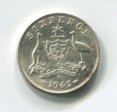 1942 Great Britain Silver Sixpence BU (C418-B)