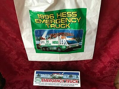 """1996 Hess """"emergency Truck"""" """"new In Box"""" With Rare """"original Bag"""""""