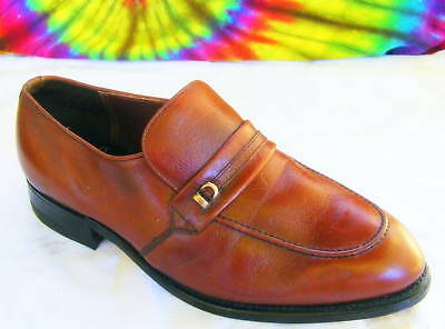 0c34348f284 8.5 EEE mens vintage brown leather loafers dress shoes