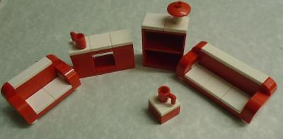 Lego Funky Lounge Furniture Minifig Custom Made Red And