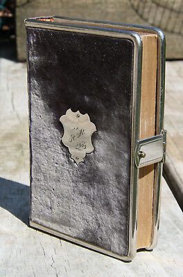Antique 1901 German Bible related book felt w /clasp cover