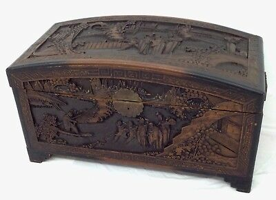 Rare Chinese Camphor Wood Ornately Carved Large Chest Trunk