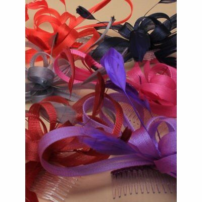 Mesh looped feather fascinator comb, Ascot Weddings,Races,Prom, ,red,,pink grey