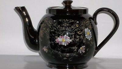 Teapot Imported English Black&gold Floral H.j. Wood  Alexandra Free Tea Samples