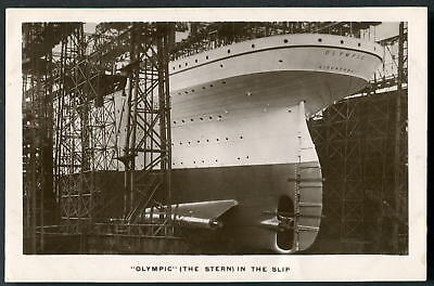 """""""OLYMPIC"""" White Star. Stern view on Slipway. Glimpse of """"TITANIC"""" hull. 1910 RP"""