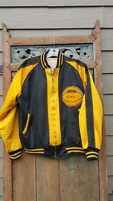 Vintage basketball jacket 1950's black/gold  with patches crown zipper Size M