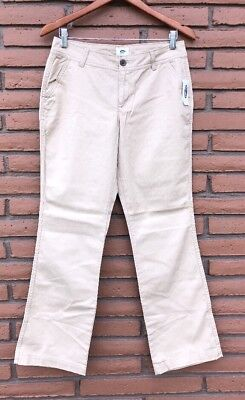 85e21dd4e593 Old Navy Womens Boot Cut Khaki Pants Size 8 Petite 30X30 Mid-Rise New With