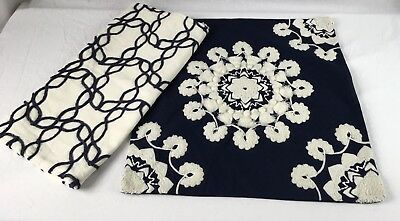 Lot Of 2 Pottery Barn & Ethan Allen 20x20 Pillow Covers Navy Blue/White