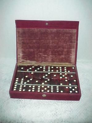 VINTAGE Crisloid Red Marbelized Catalin/Bakelite 28 Dominoes Set Thick EXCELLENT