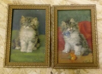 2 D. Merlin relief embossed wood framed print cat vintage puffed 3.5x5.5